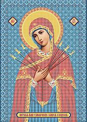 """Схема для вышивки бисером на габардине икона """"Богородица Семистрельная"""""""