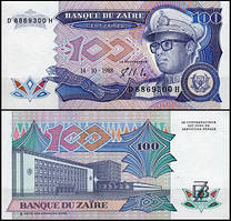 Заир /Zaire 100 zaire 1988 Pick 33 UNC