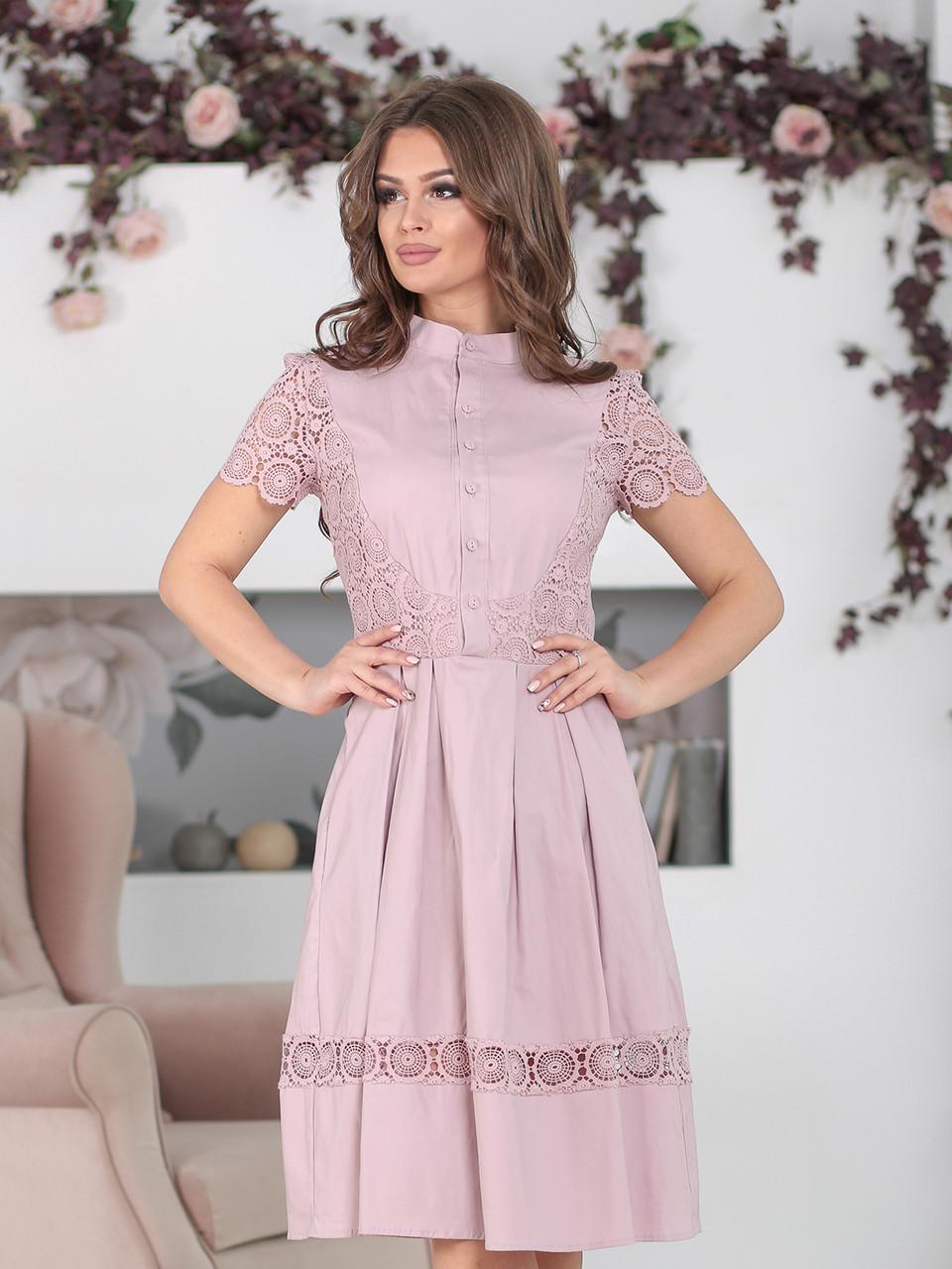 Платье с кружевом Вилора в цвете пудра