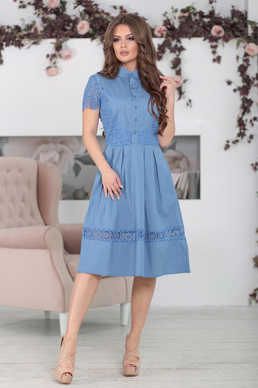 Платье с кружевом Вилора в цвете джинс