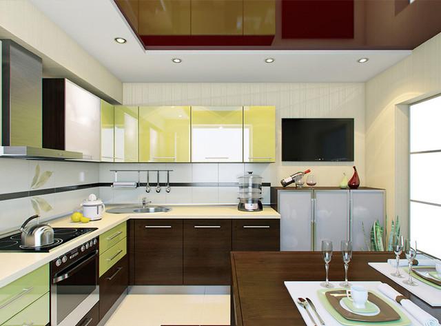 современные кухни глянец шпон фото