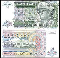 Zaire Заир - 100000 Zaires 1992 p. 41a UNC