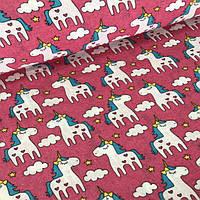 Фланелевая детская ткань детская единороги на розовом фоне