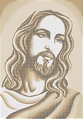 """Схема для вышивки бисером на габардине икона """"Лик Иисуса Христа""""(золото)"""
