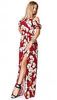 Легкое летнее платье в пол бордового цвета. Модель 1067. Размеры 44-50