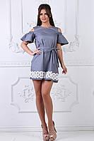 Летнее платье мини светло-серое, фото 1