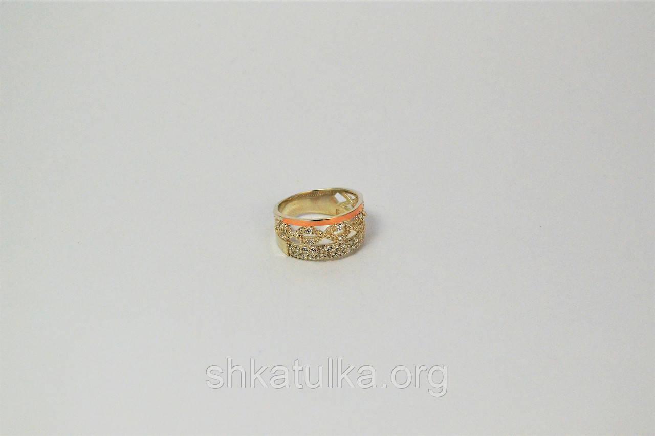 """Серебряное кольцо """"Бьюти"""" с золотом"""
