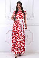 Летнее Платье в пол красное, фото 1