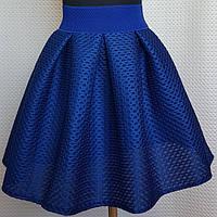 Школьная  подростковая синяя школьная юбка из неопрена с  р. 128-146