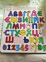 Деревянный алфавит. Азбука из фанеры Именная. Сортер. Цветная. С цифрами