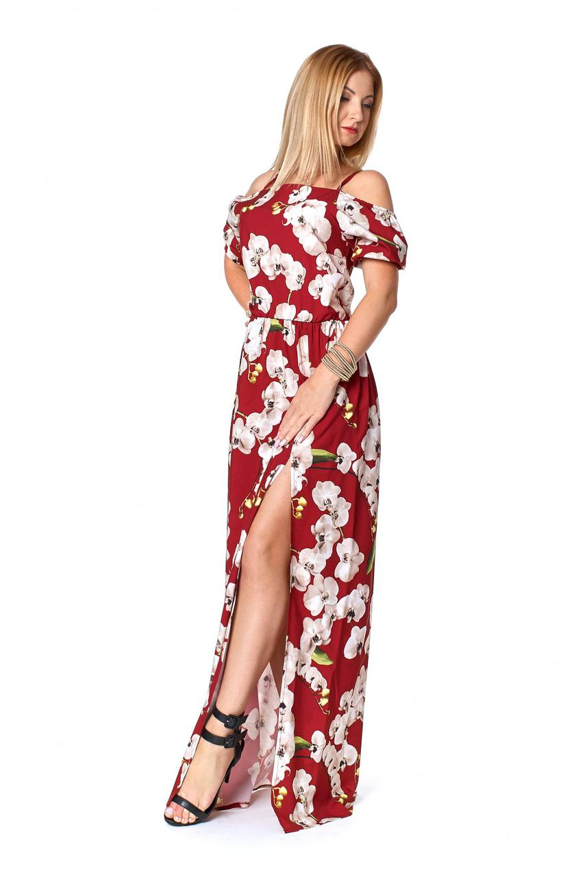 Длинный женский сарафан с цветами, бордовый