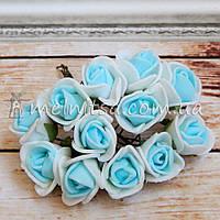 Розы из латекса, 1,5-2 см, бело-голубой