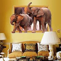 Красивая наклейка на стену 3D Слоны