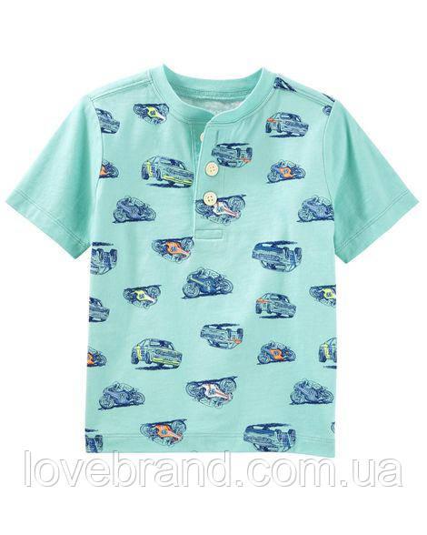 "Фирменная футболка для мальчика OshKosh ""Машинка"" на пуговицы"