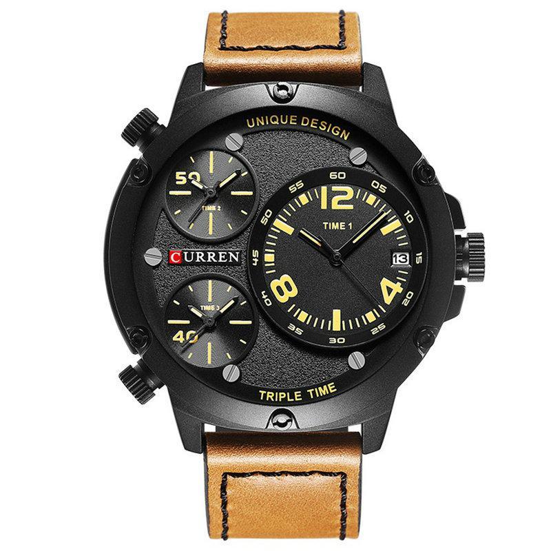 Наручные часы CURREN 8262 мужские кварцевые водонепроницаемые часы с PU кожаным ремешком Черно-Желтый(SUN0803)