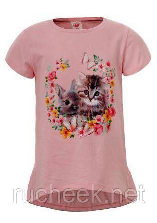 Нежная футболка с принтом для девочек р-ры 98-122, GLO-STORY 3923