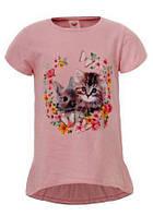 Нежная футболка с принтом для девочек р-ры 98-116, GLO-STORY 3923