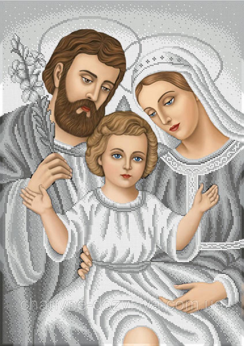"""Схема для вышивки бисером на габардине икона """"Святое семейство"""" (серебро)"""