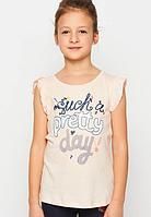 Нежная футболка с рукавчиками крылышками для девочек р-ры 98-128, GLO-STORY 1187