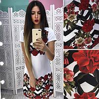 Стильное женское платье трапеция с цветами