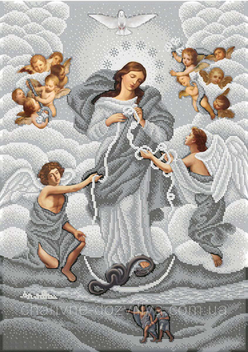 """Схема для вышивки бисером на габардине икона """"Богородица, развязывающая узлы"""" (серебро)"""