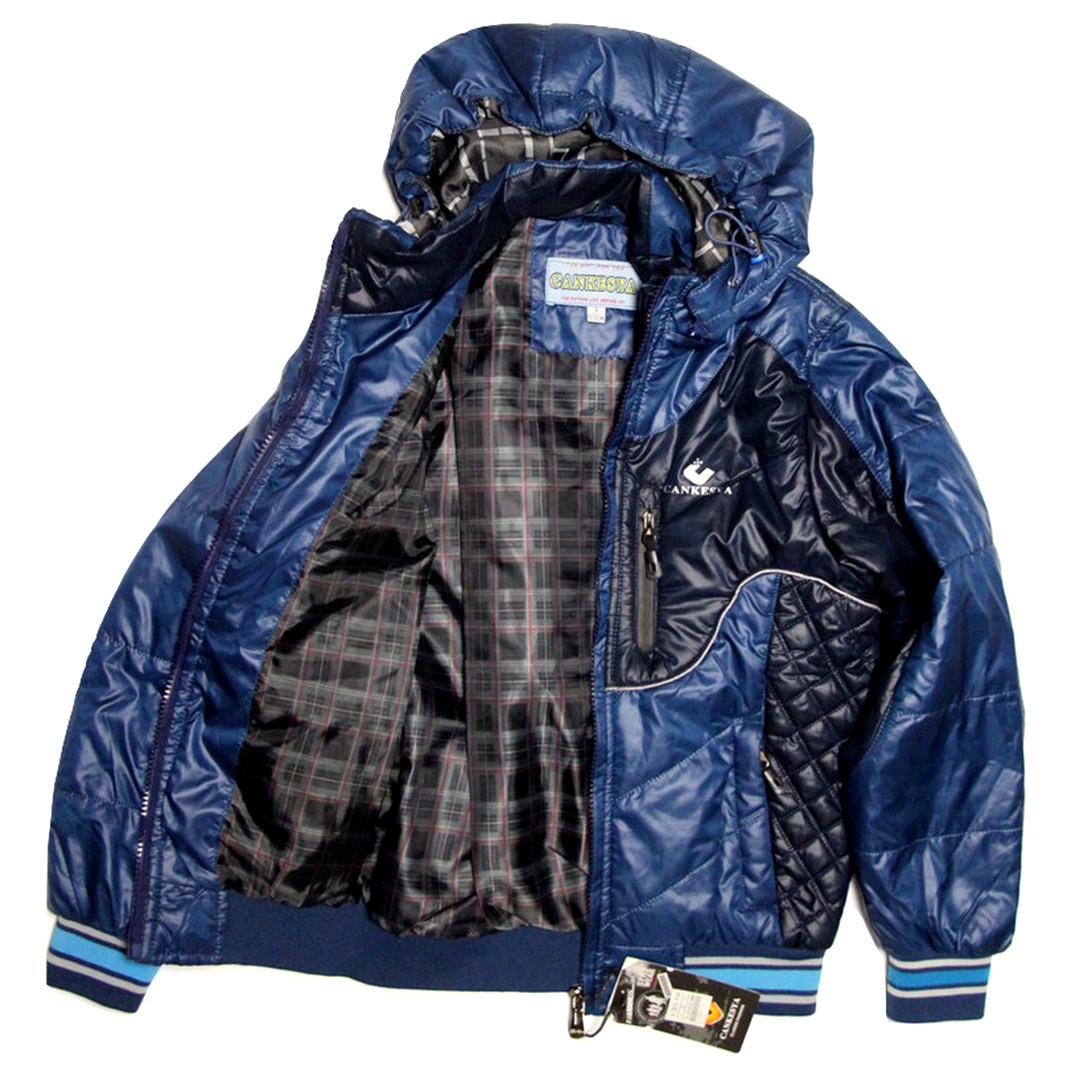 Стильная детская куртка под резинку для мальчика 6-8 лет синяя