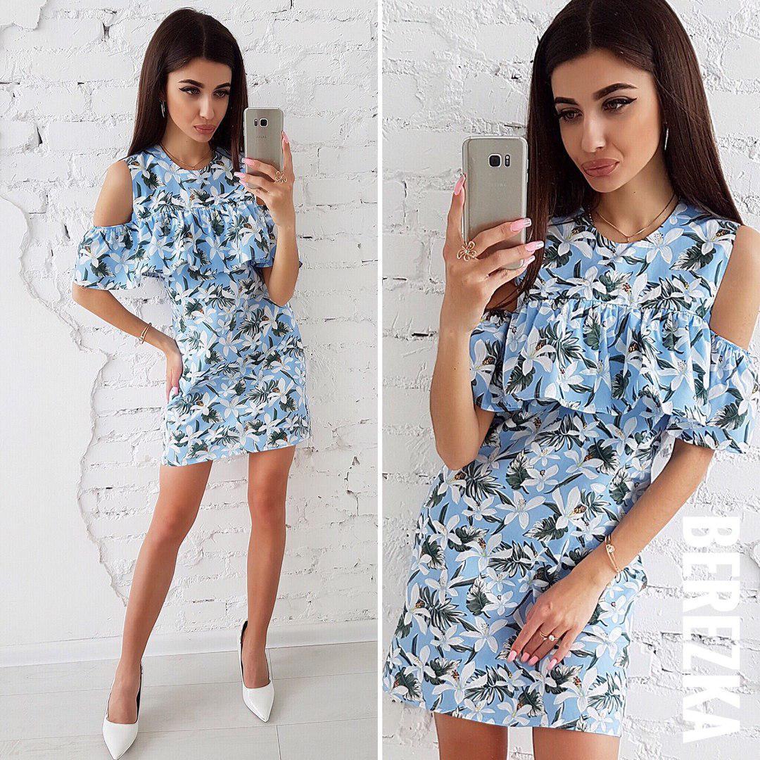 9df36b6a037 Нежное голубое платье из хлопка - Интернет-магазин