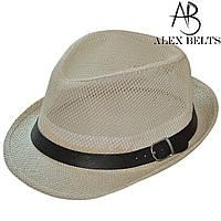 Шляпа соломенная, сетка взрослая (бежевая) с ремешком унисекс р.56-60см-купить оптом в Одессе