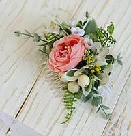 Гребень с розой и цветками лилии, зеленью, фото 1