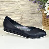 Туфли  женские синие кожаные на утолщенной подошве, фото 1