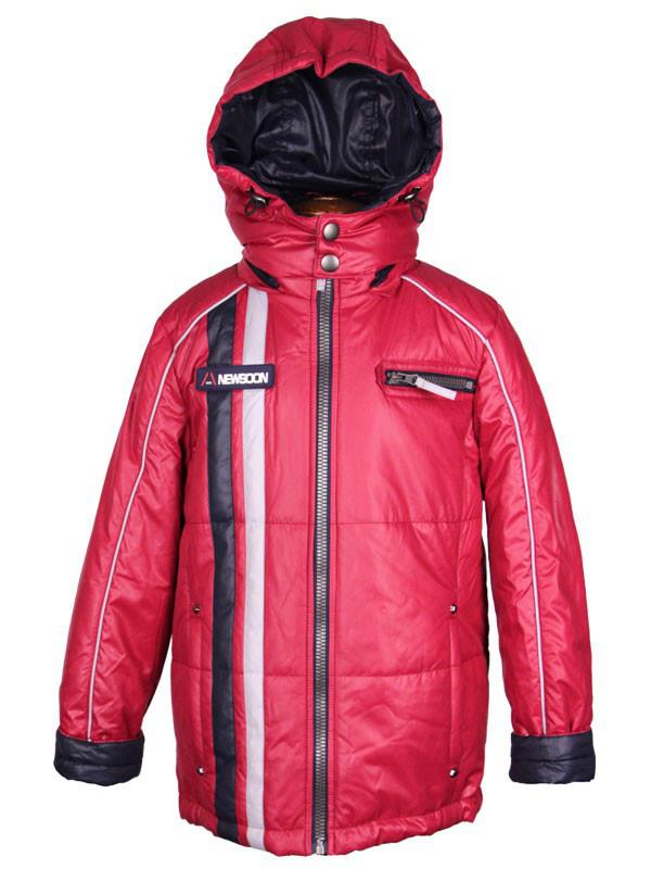 Куртка  подростковая демисезонная New Soon для мальчика  от 9 до 12 лет  бордовая