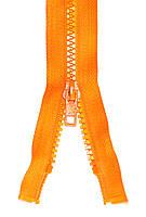 Молния тракторная Оранжевый 55см пластиковая разъемная один бегунок