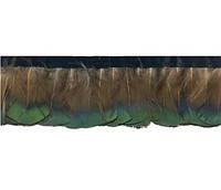 Перья декоративные фазана на ленте N18 натуральные (Коричнево-изумрудные) 4-6 см/50 см, фото 1