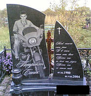 Пам'ятник з мотоциклом на фото з граніту