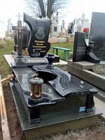 Одинарний пам'ятник комплекс з квітником на цвинтар із граніту