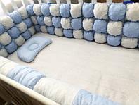 """Бортики в кроватку БомБон """"Синие точки на голубом + бледно-сиреневый горошек на белом"""""""