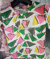 Футболка рванка женская с потертостями НОРМА (42-46 универсальный). Треугольники. Оптом с 7км