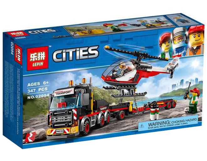 """Конструктор Lepin 02094 """"Перевозчик Вертолета"""" (реплика Lego City 60183), 347 дет"""