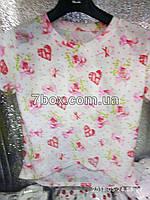 Футболка рванка женская с потертостями Бантики, сердечки (42-46 универсальный).
