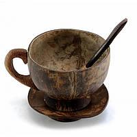 Чашка с ложкой и блюдцем из кокоса (9х12,5х11 см)