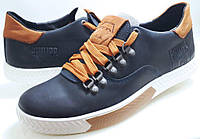 Мужские Осень-Весна Кожаные кроссовки кеды PHILIPP PLEIN model PL-2 синие Польша, фото 1