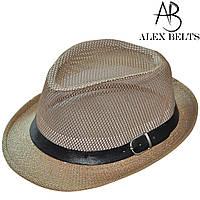Шляпа соломенная, сетка взрослая (темно-бежевая) с ремешком унисекс р.56-60см-купить оптом в Одессе