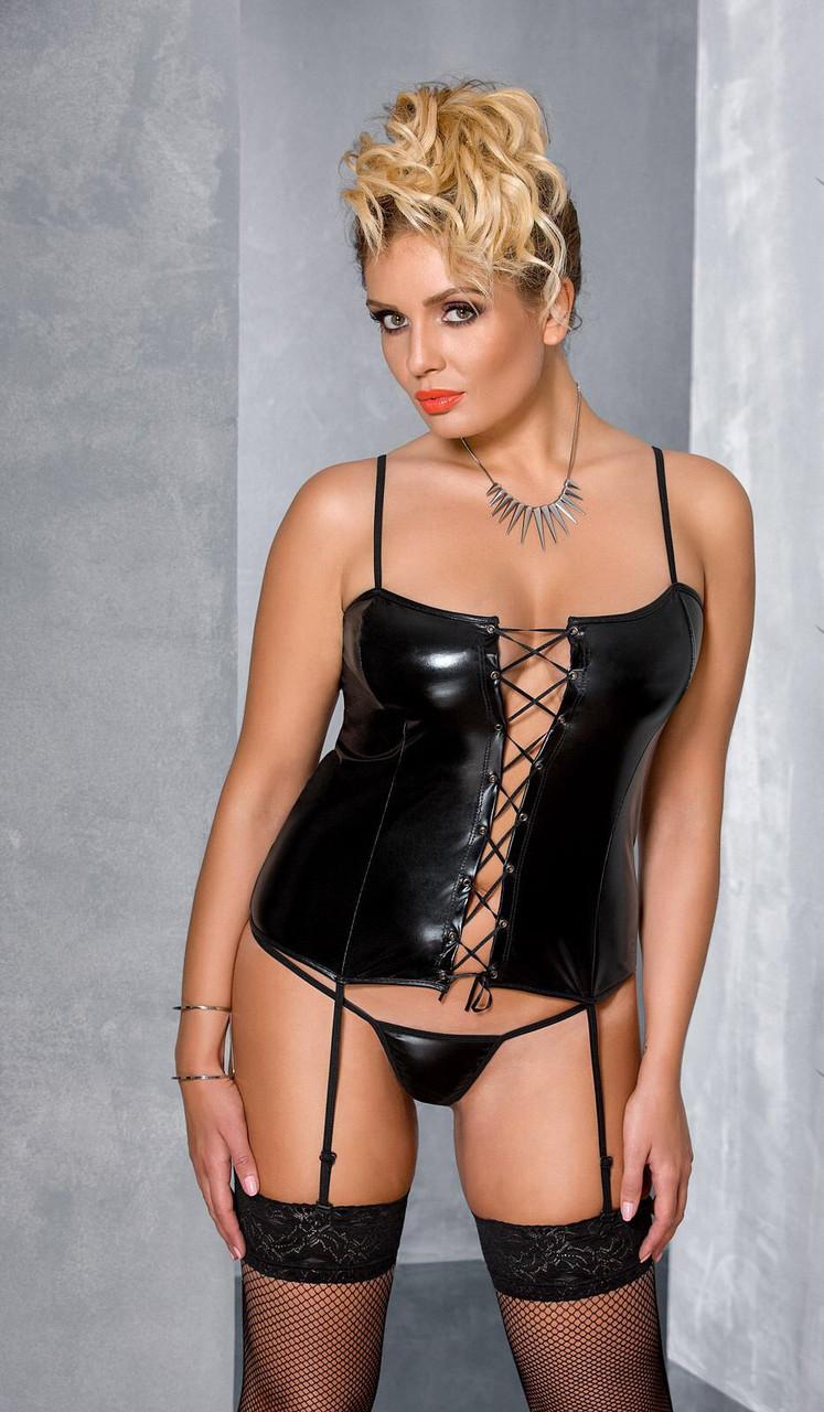 Черный корсет со шнуровкой Passion BES CORSET, Черный, 6XL\7XL