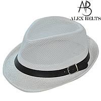 Шляпа соломенная взрослая (белая) с ремешком унисекс р.54-60см-купить оптом в Одессе