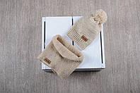 Весенне-осенний набор Lucky: вязаная шапочка и снуд для ребенка (3 размера, 42-54 см) ТМ MagBaby Песок