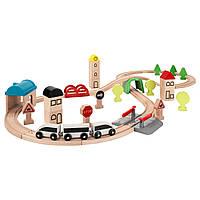 ЛИЛЛАБУ Железная дорога, набор 45 предметов, поезда и рельсы, разноцветный, 20330066, ИКЕА, IKEA, LILLABO