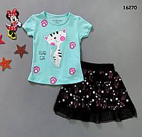 """Літній костюм """"Котик"""" для дівчинки. 1, 2, 3 роки, фото 1"""