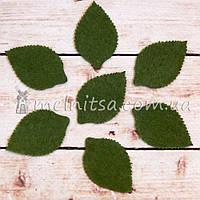Фетровая заготовка - лист розы 2,4х3,6 см, травяной (10 шт)