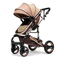Детские коляски 2 в 1 belecoo 535/Q3 (Golden). Все сезонная коляска-трансформер Belecoo. Прогулочная коляска.