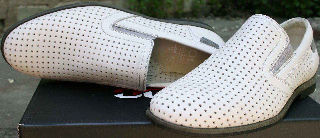Туфли лоферы летние белые с перфорацией Ikoc.
